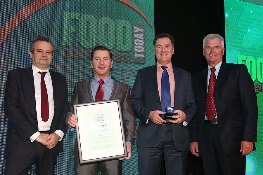 BEST BAKERY PRODUCT - 2 Scotch Beef Bridies - Calder Millerfield Ltd<br>Mark Hix, Derek Keaveney and Jim Fleming of Calder Millerfield Ltd with category partner Ken Mossford of Reiser.