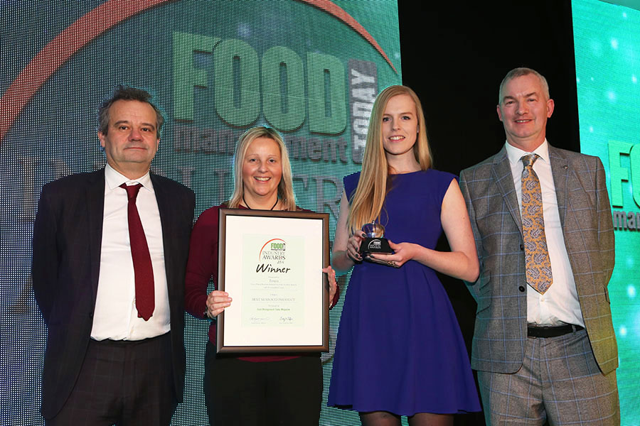BEST SEAFOOD PRODUCT - Tesco Finest Beetroot Infused Scottish Smoked Salmon with Horseradish Cream - Farne Salmon & Trout<br>Mark Hix, Alison Law of Farne Salmon & Trout and Anna Knutsen of Tesco with category partner Rod Benham of Dawsonrentals.