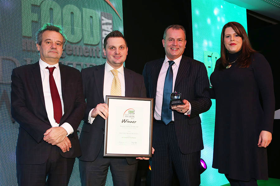 BEST RED MEAT PRODUCT  - Ocado Cajun Flavour Lamb Leg Steaks - Randall Parker Foods Ltd<br>Mark Hix, Andy Ayres of Ocado and Graham Penny of Randall Parker Foods Ltd with category partner Helena Smith of MRC The Flava People.