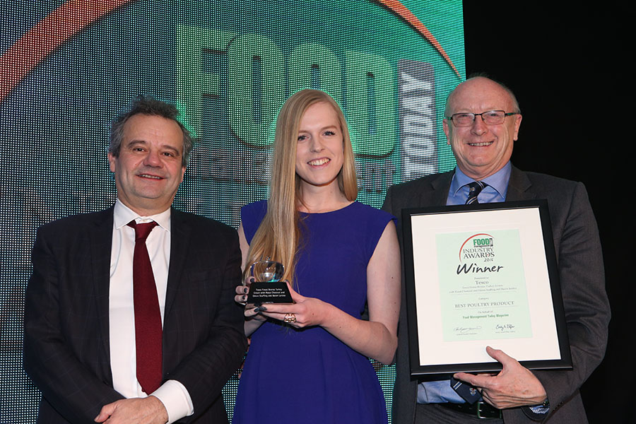 BEST POULTRY PRODUCT  -  Tesco Finest Bronze Turkey Crown with Roast Chestnut and Onion Stuffing and Bacon Lattice - Bernard Matthews<br>Mark Hix, Anna Knutsen of Tesco with category partner Ian Mackway of RAPS UK Ltd.