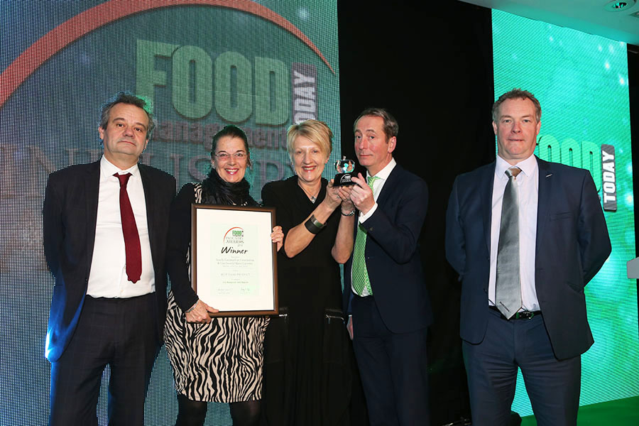 BEST DAIRY PRODUCT  -  Sainsbury's Welsh Cave Aged Cheddar - South Caernarfon Creameries & Llechwedd Slate Caverns<br>Mark Hix, Winn Merrells of Sainsbury������¢���¯���¿���½���¯���¿���½s, Linda Lewis of SCC and Michael Bewick of LSC with category partner Mark Haworth of Bizerba UK Ltd.