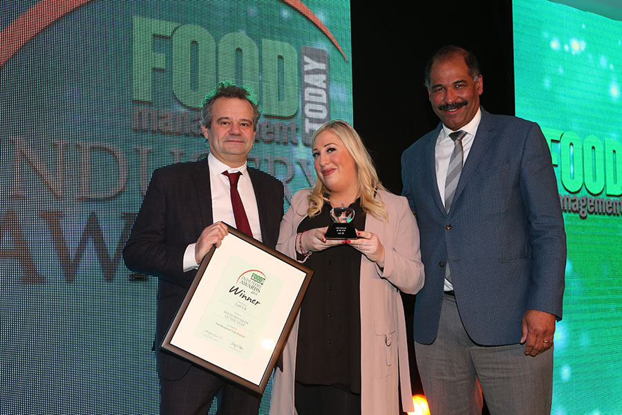 FOOD RETAILER OF THE YEAR  - Lidl UK<br>Mark Hix, Maya Orr of Lidl UK with category partner Bob Orishaguna of Sika.