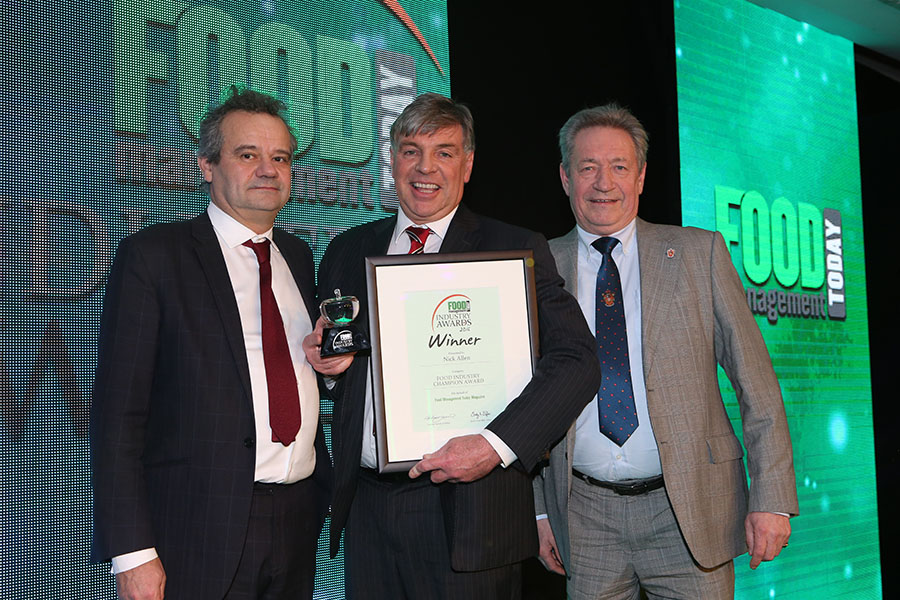 FOOD INDUSTRY CHAMPION - Nick Allen, AHDB<br>Mark Hix, Nick Allen of AHDB and category partner Keith Fisher of The Institute of Meat.