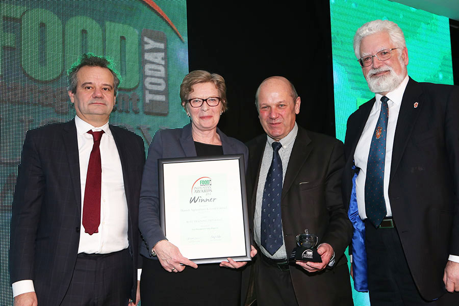BEST TRAINING INITIATIVE  - Danish Agriculture & Food Council: Meat Masterclass<br>Mark Hix, Anne Lund and John Howard of the Danish Agriculture & Food Council with category partner Bill Jermey of ftc.