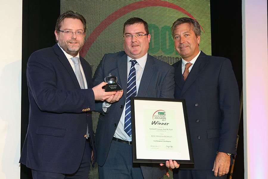 BEST FROZEN PRODUCT: Iceland Luxury Surf & Turf – 2 Sisters Red Meat Ltd<br>L-R: Category partner Rupert Gatty of CoolKit, award winner Billy Wilson of Iceland and chef John Torode.