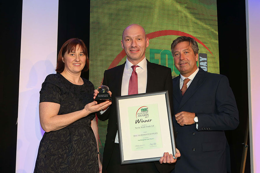 BEST INGREDIENTS SUPPLIER: Newly Weds Foods Ltd<br>L-R: Category partner Dr. Annette Creedon of Harper Adams University, award winner Rob Macdonald of Newly Weds Foods Ltd, and chef John Torode.
