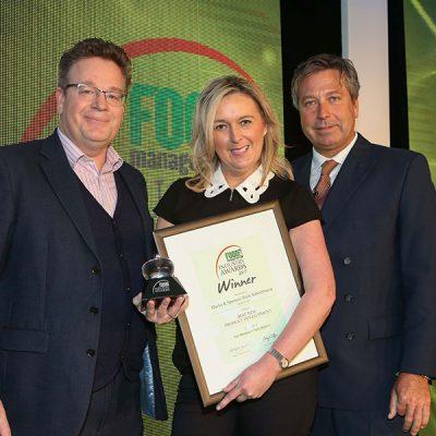 BEST NEW PRODUCT DEVELOPMENT: Marks & Spencer Pork Saltimbocca – Linden Foods<br>L-R: Category partner Tom Worth of Teknomek, award winner Pauline Gordon of Linden Foods and chef John Torode.