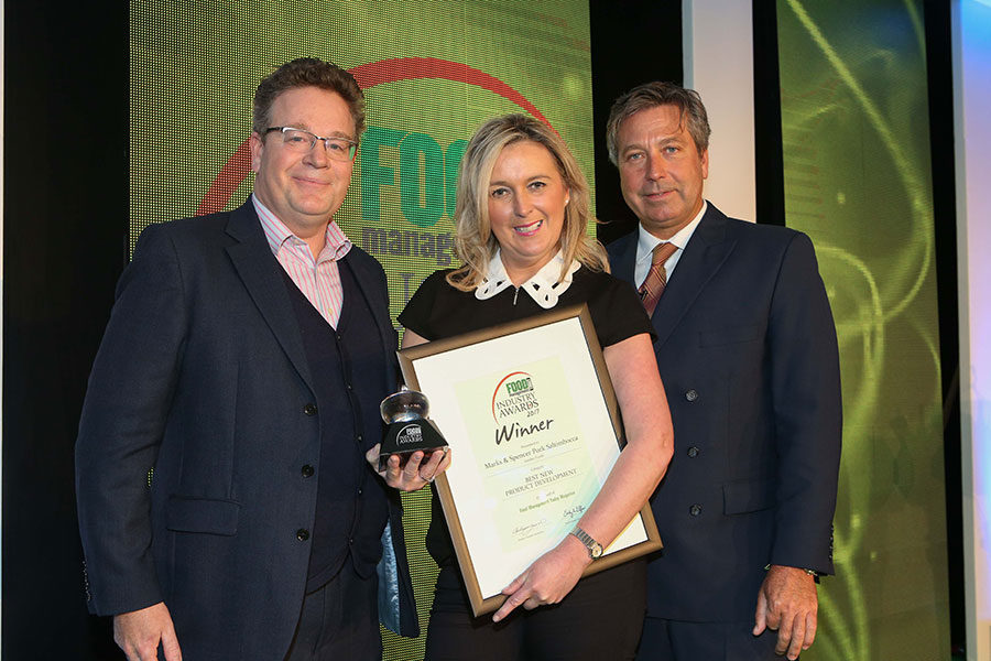 BEST NEW PRODUCT DEVELOPMENT: Marks & Spencer Pork Saltimbocca – Linden Foods<br>L-R: Category partner Tom Worth of Teknomek, award winner Pauline Gordon of Linden Foods and chef John Torode.