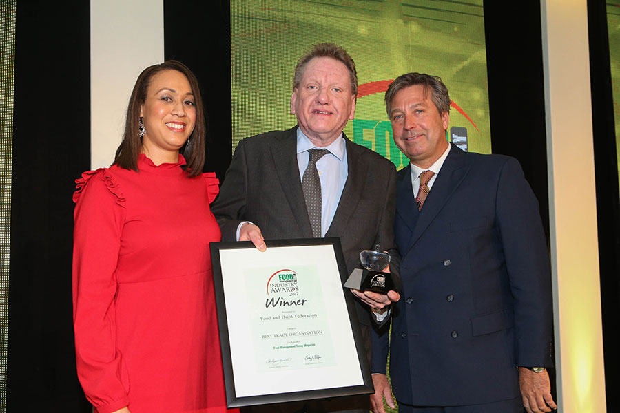 BEST TRADE ORGANISATON: Food and Drink Federation (FDF)<br>L-R: Category partner Michelle Ingerfield of Meatup, award winner Ian Wright of FDF and chef John Torode.