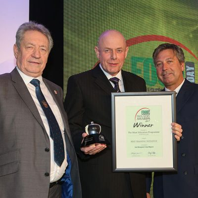 BEST TRAINING INITIATIVE: AHDB Beef & Lamb – The Meat Education Programme<br>L-R: Category partner Keith Fisher of the IoM, award winner Dick van Leeuwen of AHDB Beef & Lamb and chef John Torode.