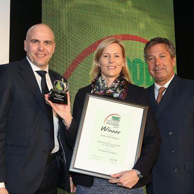 FOOD MANUFACTURER OF THE YEAR: Samworth Brothers<br>L-R: Category partner Graeme Rolinson of Marel, award winner Sophie Beardsall of Samworth Brothers and chef John Torode.