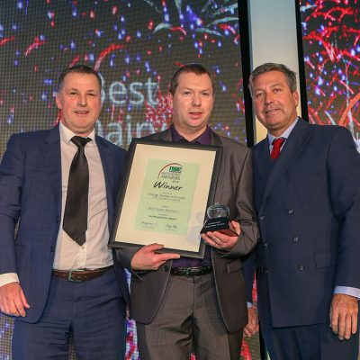 BEST DAIRY PRODUCT: Vintage Cheddar with Leeks - South Caernarfon Creameries L-R: Category partner David Curzon of Bizerba UK Ltd, award winner Shon Jones of South Caernarfon Creameries and chef John Torode.