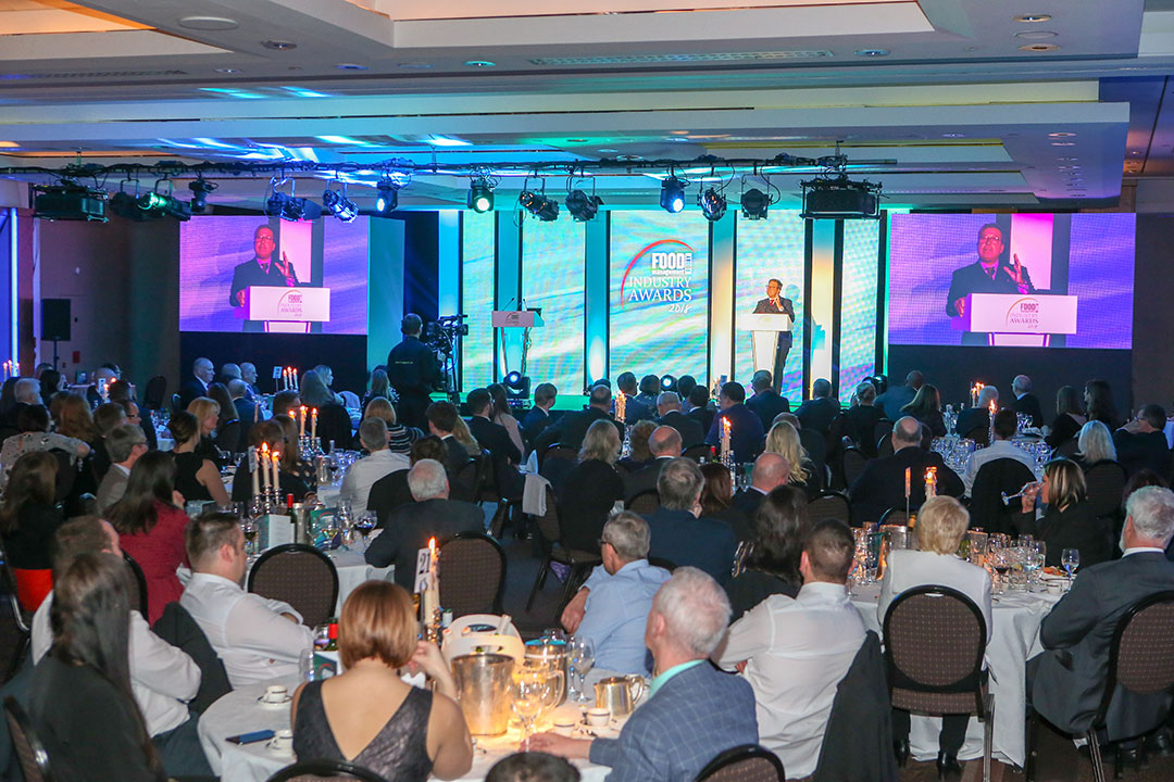 The audience looking on as John Torode introduces the FMT Food Industry Awards.