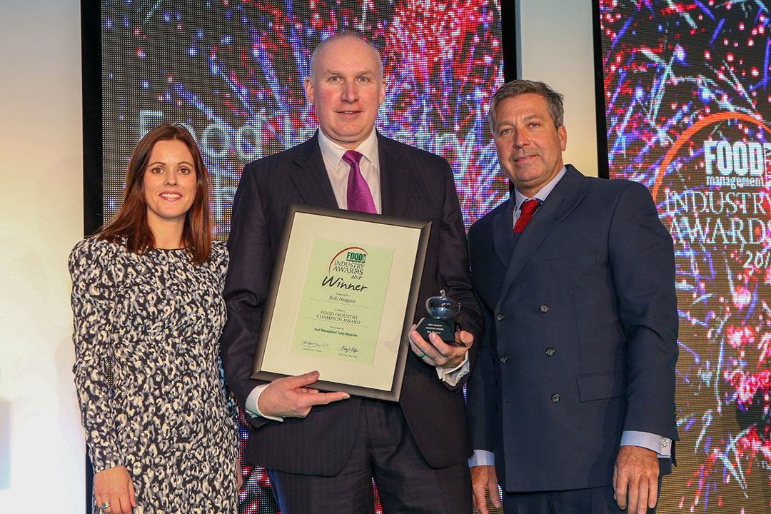 FOOD INDUSTRY CHAMPION: Rob Nugent – Operations director, Direct Table Foods L-R: Category partner Estelle Alley of Bord Bia, award winner Rob Nugent of Direct Table Foods and chef John Torode
