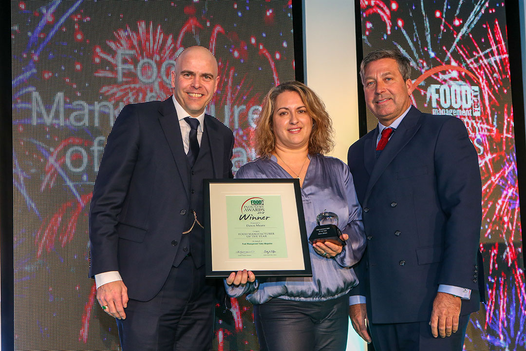FOOD MANUFACTURER OF THE YEAR: Dawn Meats  L-R: Category partner Graeme Rolinson of Marel, award winner Michelle White of Dawn Meats and chef John Torode.