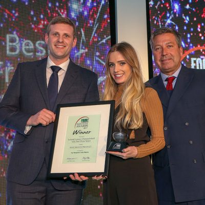 BEST FROZEN PRODUCT: Iceland Luxury Chateaubriand with Red Wine Sauce  L-R: Category partner David Grimshaw of CoolKit, award winner Rachel Bie of Iceland and chef John Torode.