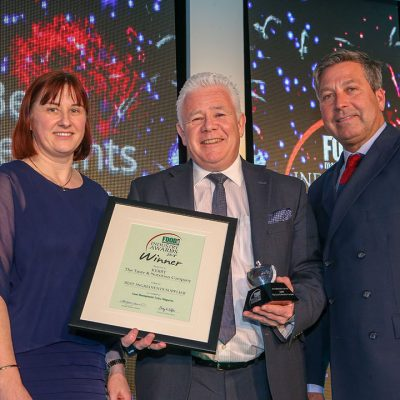 BEST INGREDIENTS SUPPLIER: Kerry – The Taste & Nutrition Company  L-R: Category partner Dr. Annette Creedon of Harper Adams University, award winner Philip O'Connor of Kerry – The Taste & Nutrition Company and chef John Torode.