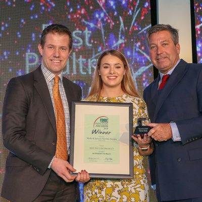 BEST POULTRY PRODUCT: Marks & Spencer Souvlaki Kebabs – Linden Foods L-R: Category partner James Smith of Kalsec Europe, award winner Claire Marshall of Linden Foods and chef John Torode.