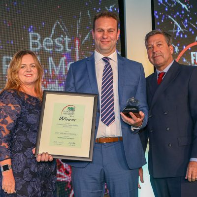 BEST RED MEAT PRODUCT: Dorset Crown Lamb Sirloin – ABP Yetminster L-R: Category partner Michele Van Der Walt of Kerry– The Taste & Nutrition Company with award winner Mark Eastwood of ABP Yetminster and chef John Torode.