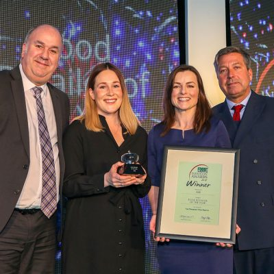 FOOD RETAILER OF THE YEAR: Aldi L-R: Category partner Nick Wide of JDM Food Group, award winners Beth Rawstron and Mary Dunn of Aldi and chef John Torode.
