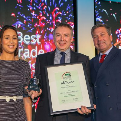 BEST TRADE ORGANISATON: Red Tractor Assurance L-R: Category partner Michelle Ingerfield of Meatup, award winner Jonothan Draper of Red Tractor Assurance and chef John Torode.