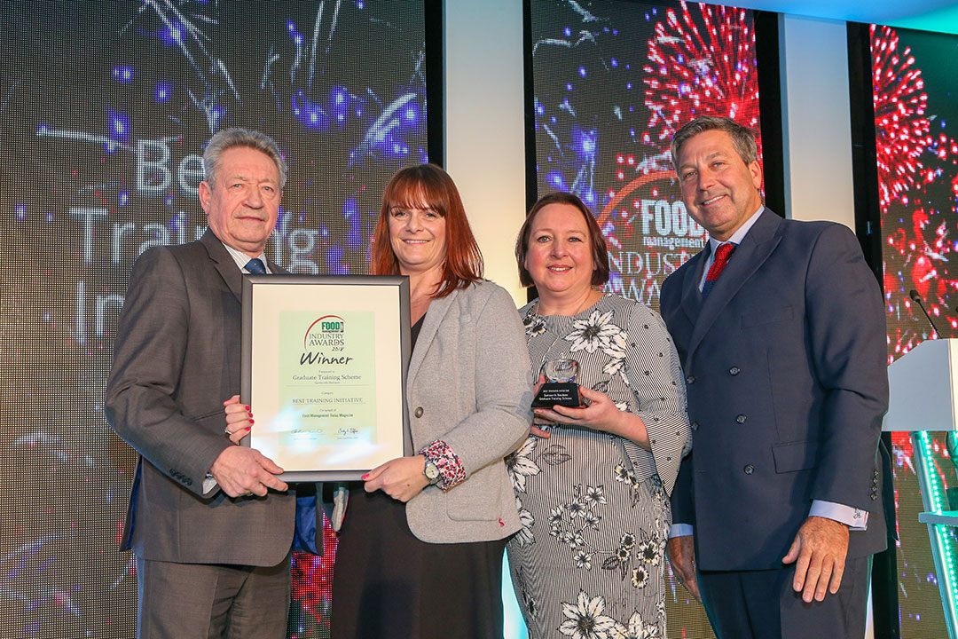 BEST TRAINING INITIATIVE: Samworth Brothers – Graduate Training Scheme L-R: Category partner Keith Fisher of the Institute of Meat, award winners Caroline Cantwell and Dianne Brown of Samworth Brothers and chef John Torode.
